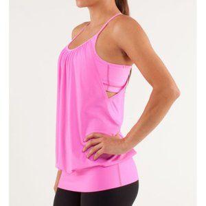 Lulu No Limits Tank Pow Pink Hot Cut-Outs Bra Top
